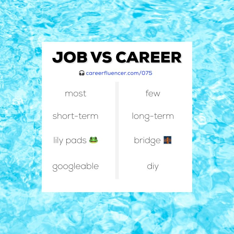 job vs career podcast episode careerfluencer community