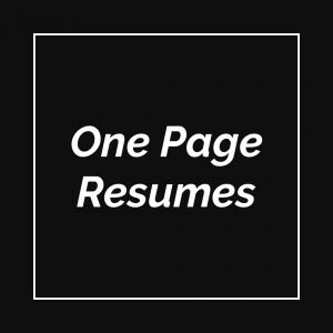 one page resumes